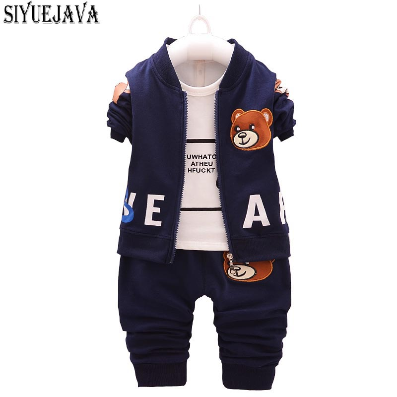 3PCS Autumn Winter Baby Boys Clothing Set Flying Bear Newborn Jacket+ Long Sleeve Tops+ Pants Suit for bebes Fashion Coat Female cotton baby rompers set newborn clothes baby clothing boys girls cartoon jumpsuits long sleeve overalls coveralls autumn winter