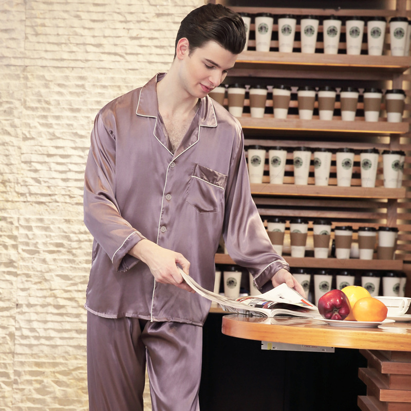 2018 Male Faux Silk Pajama Set Spring Long Sleeve Long Pants Solid Plus Size Elastic Waist Lounge Set