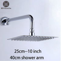 Free Shipping Wall Mount 10 Inch Stainless Steel Rain Shower Head Brass Shower Arm Chrome Finish
