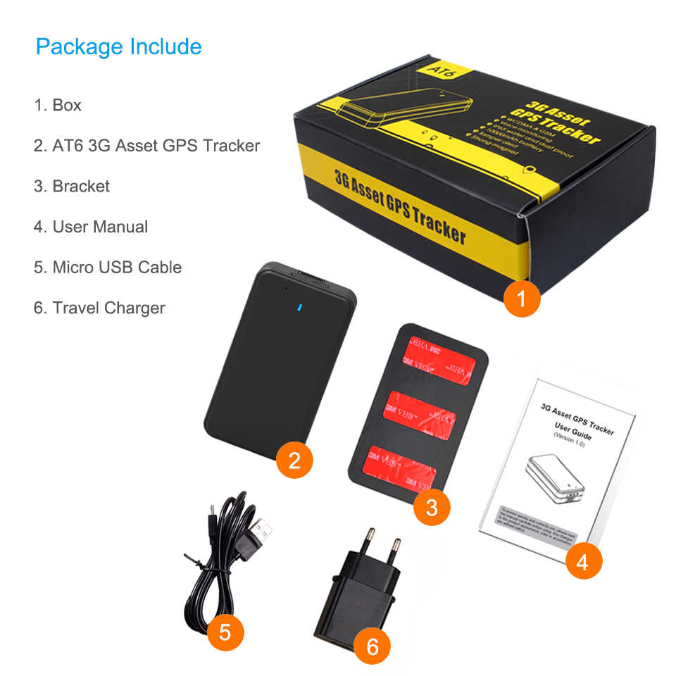 Concox New 3G AT6 Asset Tracker Car GPS Tracker With 10000mAh Recharge  Battery Listen-in Waterproof 2 Years Working Time Magnet