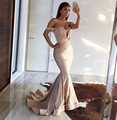 Elegante champagne mermaid prom dress sexy abrir voltar pescoço v plissado cetim vestidos de noite longo 2016 alta qualidade robe de soirée longue