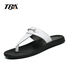 TBA White Cow Split Upper PU Insole Rubber Outsole Men's Flip Flops Fashion Design Metal Delicate Male Leisure Slippers 5980