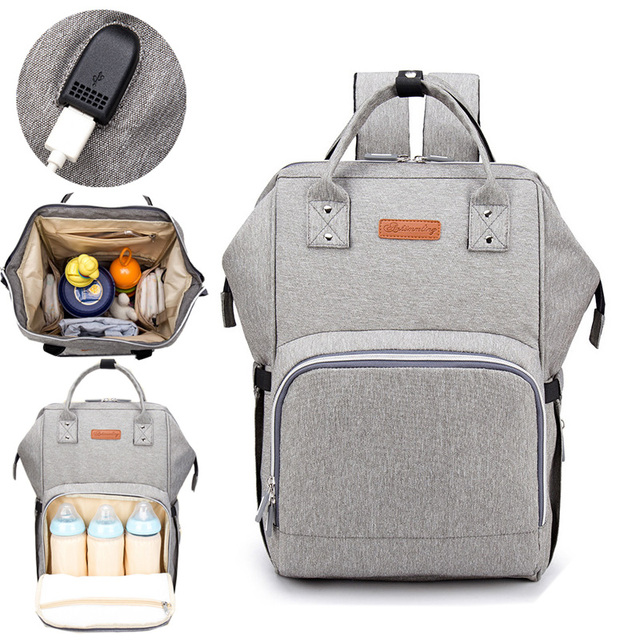 6c9db5a90c3 US $53.94 |2018 Baby Diaper Bag With USB Interface Large Capacity  Waterproof Nappy Bag Kits Mummy Maternity Travel Backpack Nursing  Handbag-in Diaper ...
