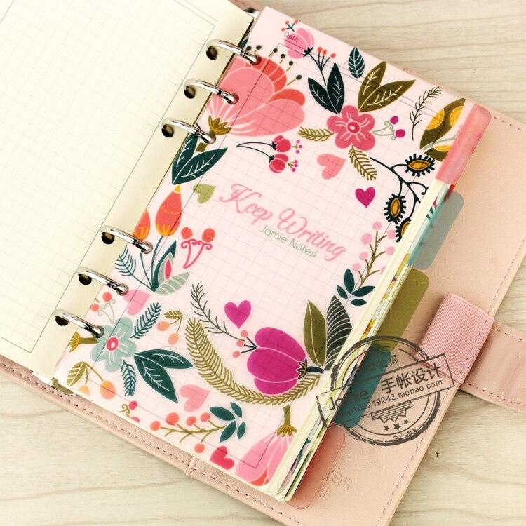 A5 A6 A7 Spiral Notebook Loose Leaf Transparent PP Separator Sidor - Block och anteckningsböcker - Foto 2