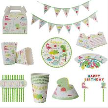Dinasour Party supplies 67pcs for 6kids birthday party plate+cup+straw+banner+wrapper+invitation+Candy box+Popcorn box+hat
