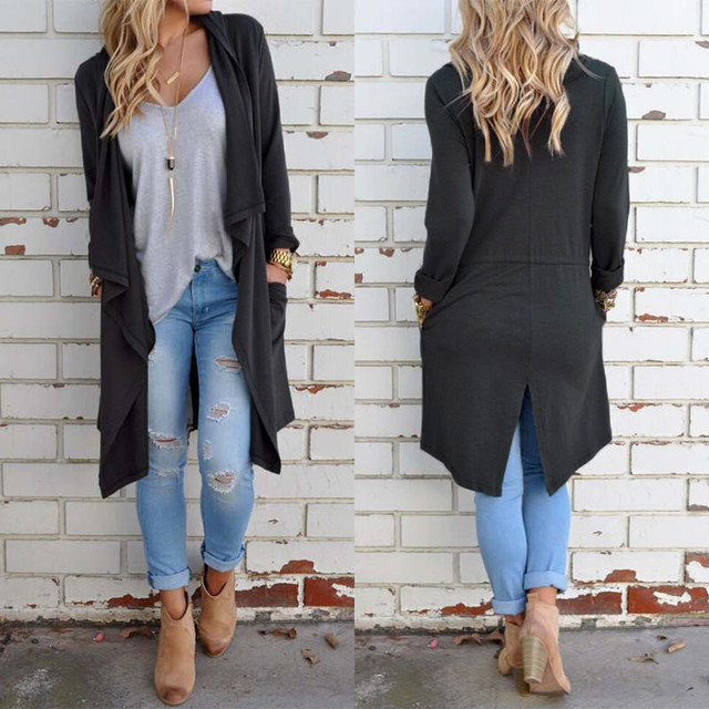 Women Casual Loose Cardigan Outerwear 2016 Spring Autumn Long Sleeve Lapel Split Hem Solid Thin Long Trench Coat Plus Size