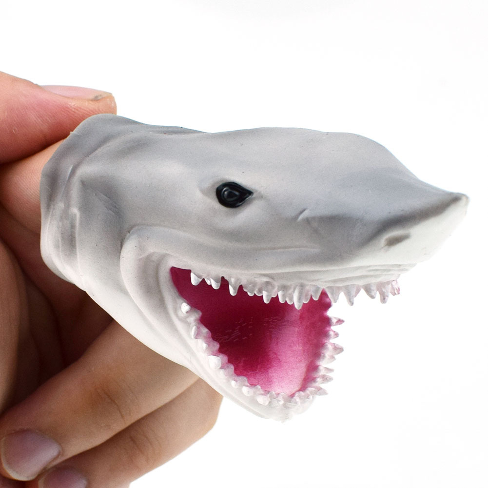 1Piece Soft Gray Shark Finger Puppet Toy for Tell Story Kids Hallowmas Gift