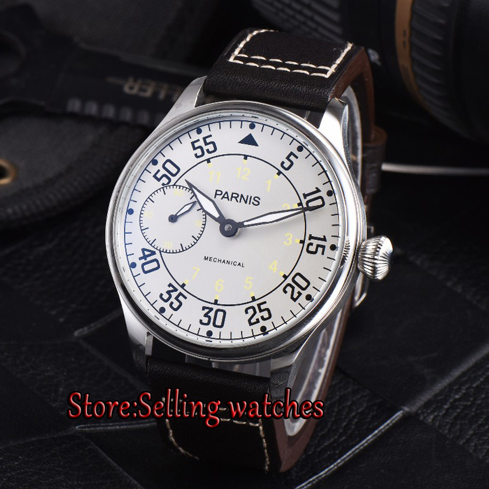 Parnis 44mm Hand Winding Mechanical Mens Watches ST 3600 6497 Mechanical Watch Men цена и фото
