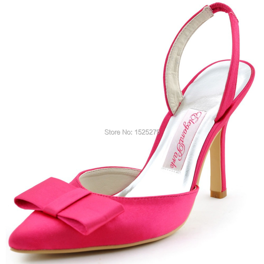Fast Shipping HC1404-US Hot Pink Women Bridal Pointy Toe Prom Party Pumps  Slingback Bow High Heels Lady Satin Wedding Shoes 4088cf61c