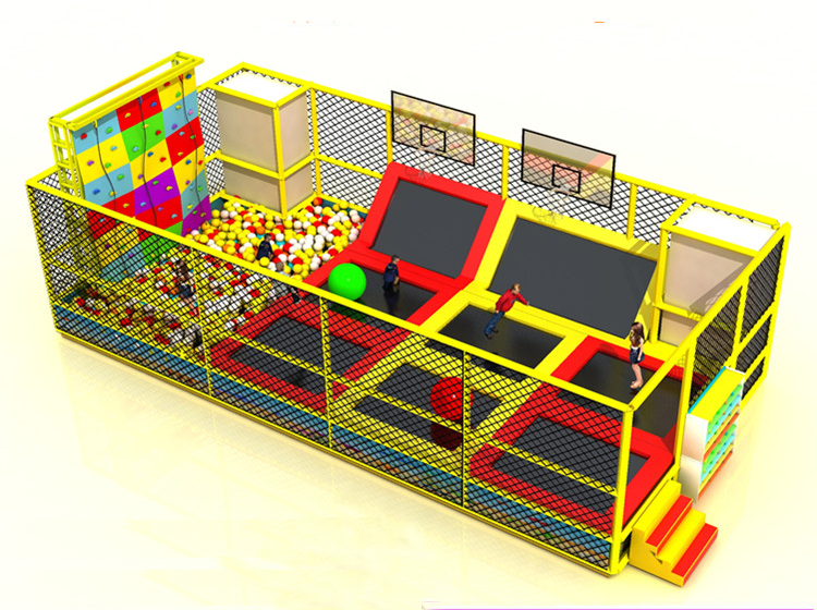 fitness trampoline park combo ball pool and rocking climbing all in one for the children indoor playground jump bed YLW BT190326