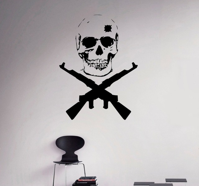 Double guns military emblem with cool skull wall sticker creative design vinyl decals home special decor