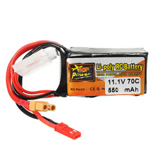2PCS ZOP Power 11.1V 550mAh 70C 3S Lipo Battery with JST XT30 Plug For Lizard95