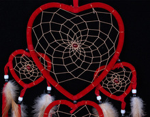 Indian style big dream catcher hanging five love heart rings feather pendant decoration