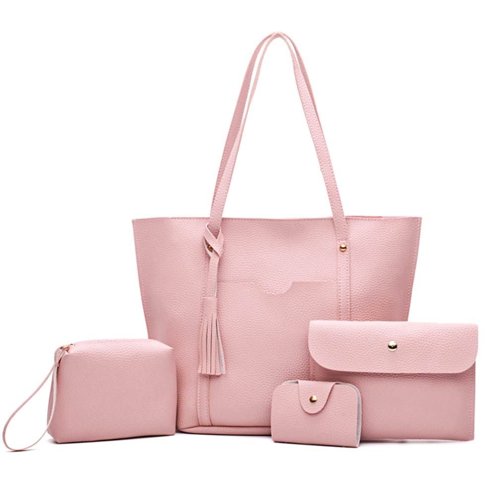 New 4PCS Women Purse And Handbags Sets Ladies PU Leather Shoulder BagsWomen Messenger Bags Satchel Tote Crossbody Best Sale-WT