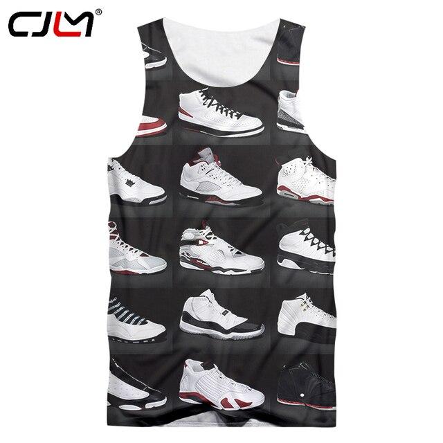 d07fa76c189c CJLM Man Singlets New Arrival 3d Print Jordan Shoes Tank Tops Hombre Hip Hop  Punk Style Sportwears Shirts Crewneck Undershirts