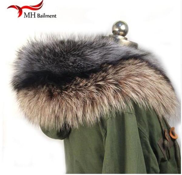 Шарф из натурального меха, пальто с меховым воротником, Женское зимнее пальто, меховые шарфы, роскошный мех енота, настоящий зимний теплый шейный платок - Цвет: I
