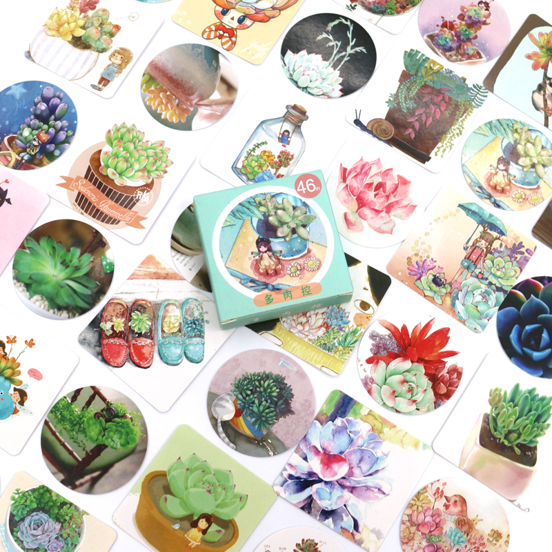 46PCS/box Cute Succulent Plants Succulents Mini Paper Sticker Decoration Diy Ablum Diary Scrapbooking Label Sticker Stationery