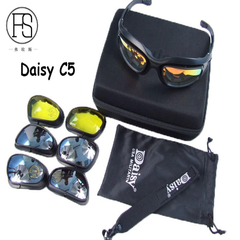 Prix pour Vente chaude Daisy C5 Tactique Lunettes Airsoft Chasse Lunettes Cyclisme Ski Lunettes de Protection UV400 lunettes de Soleil De Pêche 4 lentille