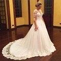 Vintage Plus Size Wedding Dress 2016 Appliques Long Sleeve Tulle Puffy Princess Lace Bridal Gowns Vestido Noiva Robe De Bal