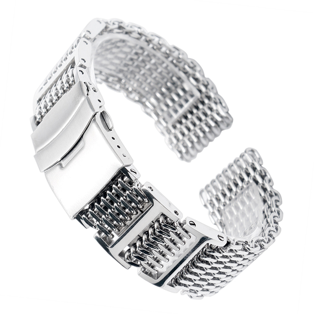 20/22/24mm HQ Shark Mesh Silver Stainless Steel Watchband Replacement Bracelet M