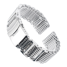 20/22/24mm HQ Shark Mesh Silver Stainless Steel Watchband Replacement Bracelet Men Folding Clasp with Safety Watch Band Strap