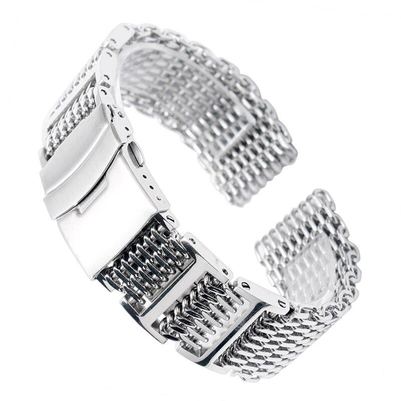 20/22/24mm HQ Shark Mesh Silber Edelstahl Armband Ersatz Armband Männer Faltschließe mit Sicherheit Uhrenarmband-bügel