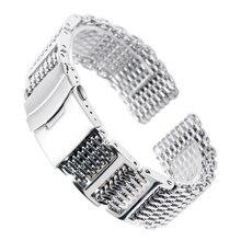 HQ Shark Mesh correa de reloj de acero inoxidable para hombre, brazalete de repuesto, cierre plegable, correa de reloj de seguridad, plata, 20/22/24mm