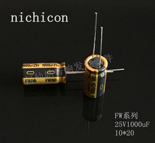 10pcs/20pcs nichicon acoustic capacitance FW series 25v1000uf 10*20 audio super capacitor electrolytic capacitors free shipping
