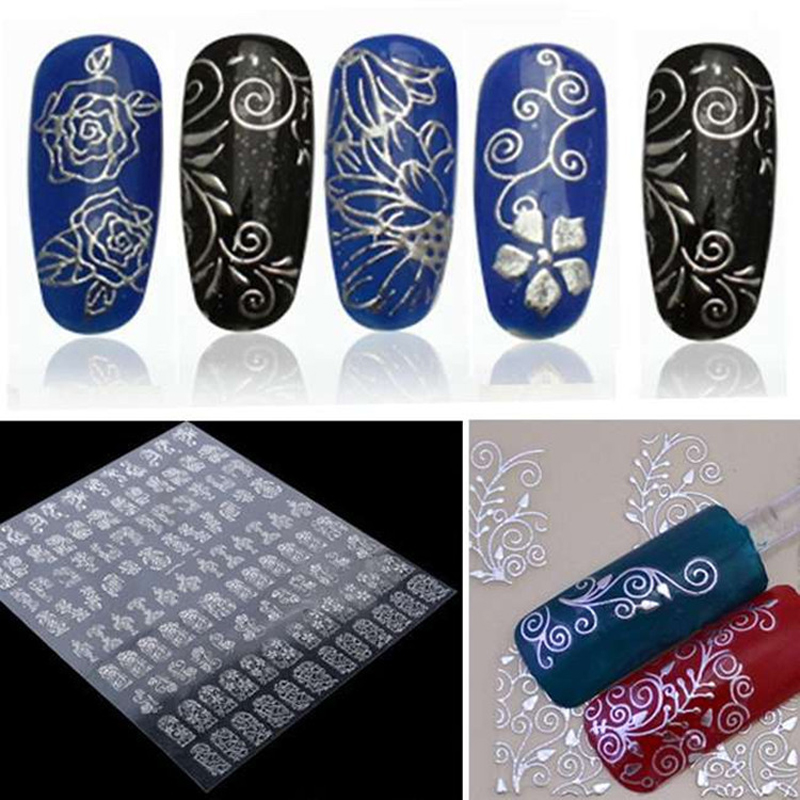 1 Sheet 3D Nail Art Stickers Water Decals Metallic Flowers Stickers For Nails Mix Designs Nail Tips Decoration Manicure Tool kiss набор стикеров из страз nail artist metallic stickers