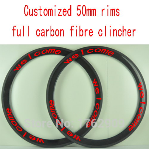 2Pcs New customized 700C 50mm clincher rims Road bicycle 3K UD 12K full carbon fibre bike wheels rims 23 25mm width Free ship new white red 700c 50mm clincher rims road bike t1000 3k ud 12k full carbon fibre bicycle wheelsets 20 5 23 25mm width free ship