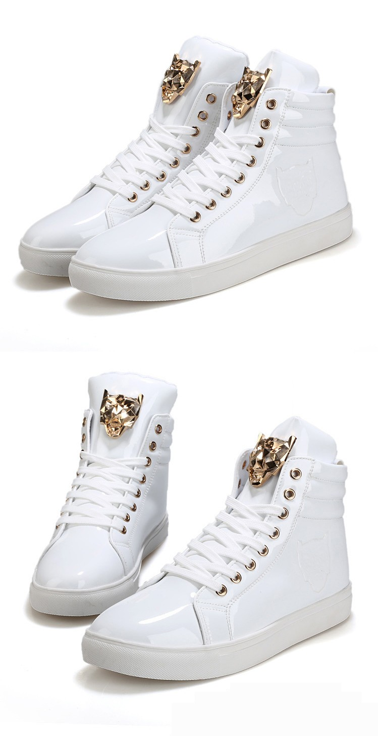 Fashion Leopard Sequined Skate Shoes For Men Ankle Boots 2015 New PU Patent Leather Shoe High Top Casual Flats Medusa Shoes F184 (9)