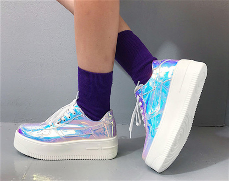 High Heels Platform Shoes Women Spring Autumn 2019 New Arrival Designer White Fashion Creepers Ladies Wedges Harajuku Dad Shoes (3)