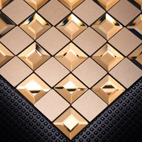 Homey Mosaic Aluminum & Glass Wall Decor For Living Room Mosica Europe Rose Gold 8MM Wall Sticker 30*30cm Per Piece Wall Decals