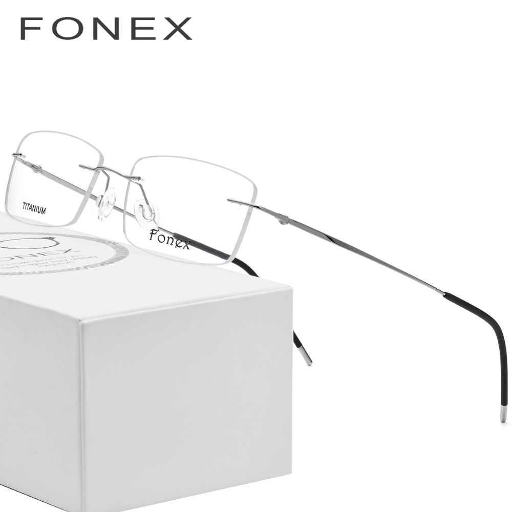 c77275f775 Rimless Titanium Glasses Frame Men Ultralight Square Prescription  Eyeglasses Women Light Frameless Myopia Optical Frames Eyewear
