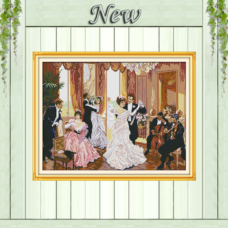 The family party Couples dance painting counted print on canvas DIY 14CT 11CT DMC Cross Stitch kits Needlework Sets EmbroideryThe family party Couples dance painting counted print on canvas DIY 14CT 11CT DMC Cross Stitch kits Needlework Sets Embroidery