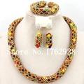 Encantadora de los granos Crysta collar nueva nigeriano boda perlas africanas joyería conjunto indio joyería nupcial del envío gratis