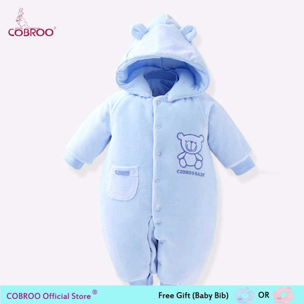 COBROO Newborn Baby Romper Winter 2018 100% Cotton 0-6 Month Infant Clothes Baby Girl Boy Jumpsuit Hooded Kid Outerwear 750011 spring baby romper infant boy bear romper newborn hooded animal clothes toddler cute panda romper kid girl jumpsuit baby costume