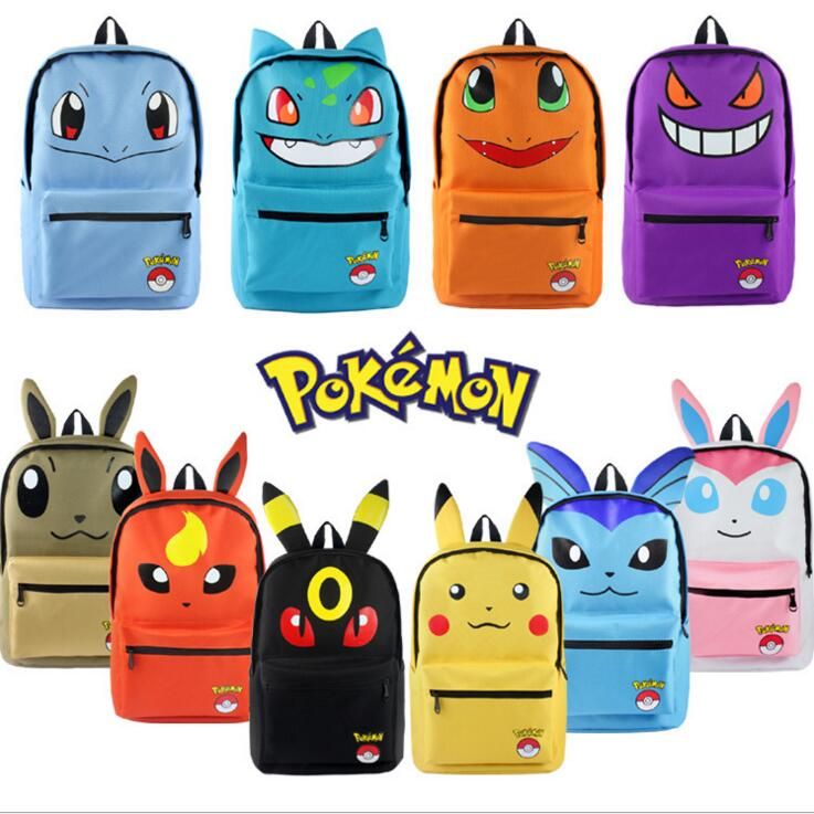 Pokemon Pikachu Haunter Eevee Bulbasaur Canvas Backpack Students Shoulders Bag Pocket Monster Haunter Schoolbags Laptop Bags japan pokemon harajuku cartoon backpack pocket monsters pikachu 3d yellow cosplay schoolbags mochila school book bag with ears
