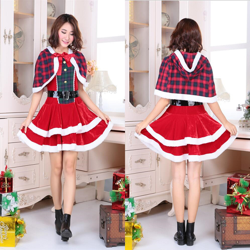 2018 New Christmas high quality red plaid jumpsuit shawl Christmas hat Christmas night performance clothing cosplay costume