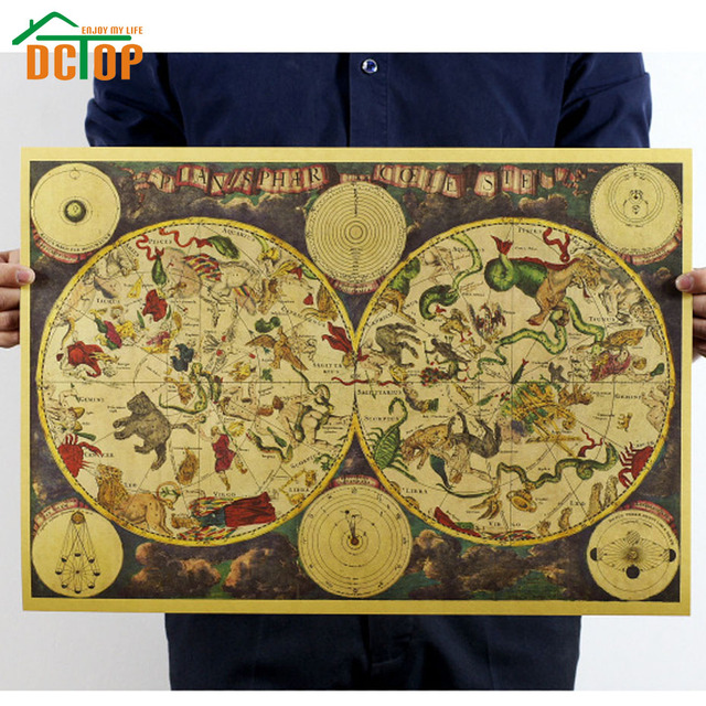 DCTOP Painting Vintage Ancient Zodiac Constellation Map Poster ...