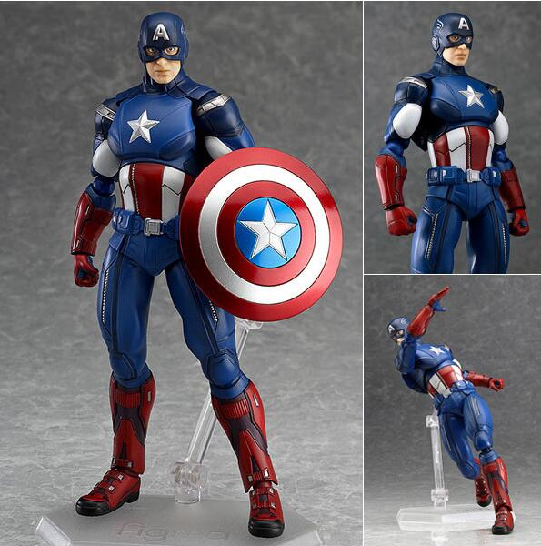 Marvel the Avengers 3 Captain America Figma 226 PVC Action Figure Collectible Model Toy 16cm avengers age of ultron captain america pvc action figure collectible model toy 9 23cm