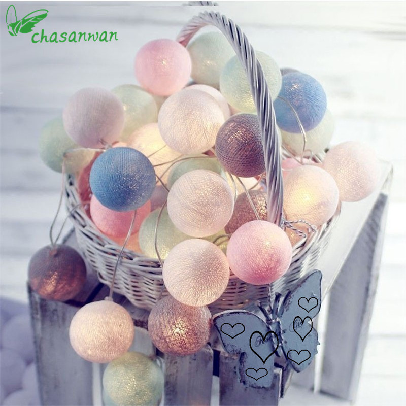 3m 20-LED Tiffany Cotton Ball String Light Christmas Led Decorations for Home New Year Decoration Colorful Decor Navidad Natal.L