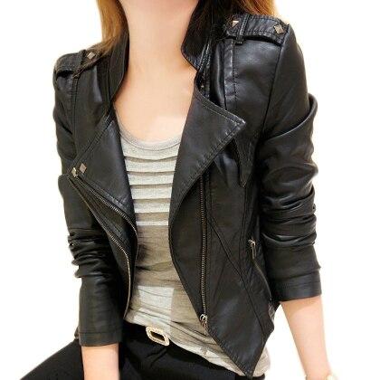 2018 Autumn Women Black Slim Cool Lady PU   Leather   Jackets Sweet Female Zipper Faux Femme Outwear Coat Plus Size