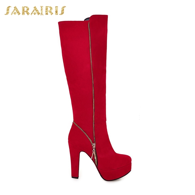SARAIRIS 2018 Top Quality Large Sizes 32-47 Winter Boots Fashion Sexy High Heels women's Shoes Woman knee-high Boots