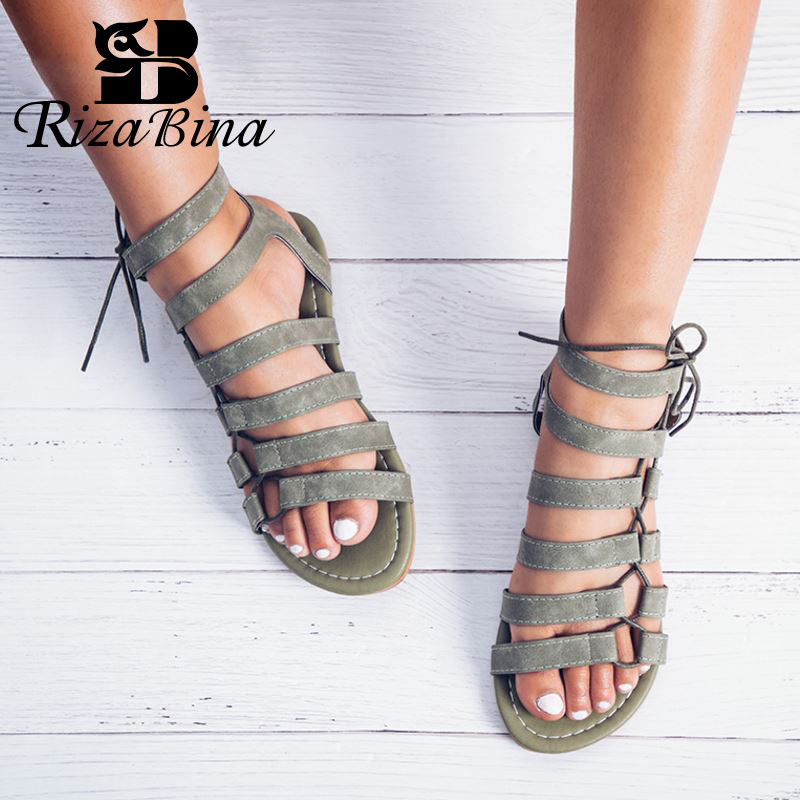 RIZABINA/сандалии гладиаторы; Женские сандалии с ремешком на щиколотке; Женские пляжные сандалии на плоской подошве со шнуровкой; Женская летняя обувь; Размеры 35 43|Боссоножки и сандалии|   | АлиЭкспресс