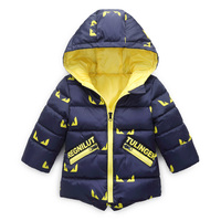 Autumn Winter New Fashion Boys Warm Coat Long Sleeve Cartoon Jacket Children Cotton Padded Clothes