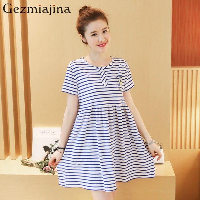 Summer maternity wear New fashion loose stripe maternity dress Short sleeves  printed pregnancy women skirt clothes 6425b35c7ab8