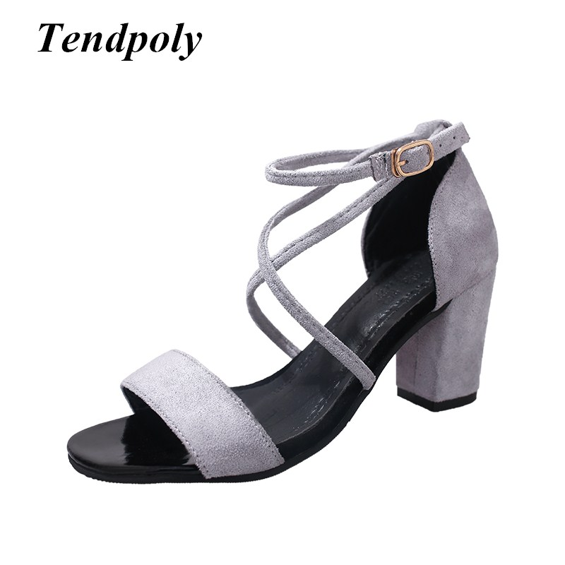2018 The new retro fashion women's sandals summer buckle simple trend hot high heels hot section casual Women singles shoes fragrantlily 2018 summer new hot  women