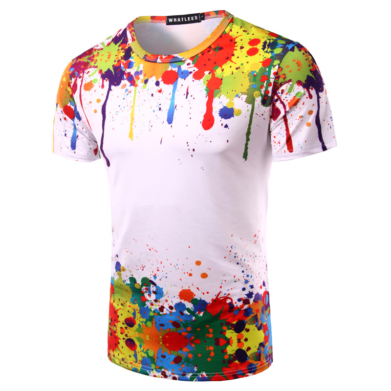 a0425b5f264 Mixed Color 3D Splash Ink Print Men T shirt Summer Fashion Slim Fit Short Sleeves  New Style Pullovers Shirts-in T-Shirts from Men s Clothing on ...
