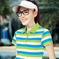 Летние Женщины Полосатый Поло Рубашки 2017 Новая Мода Высокого Качества С Коротким Рукавом Натуральный Цвет Дамы Рубашки Поло Поло Женщины Раф